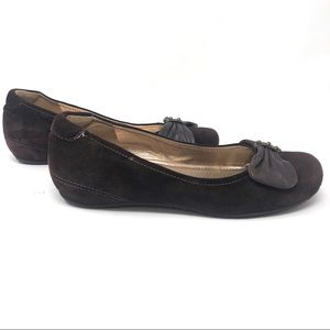 Ecco Slip On Flats Brown Suede with Bow EUR 37